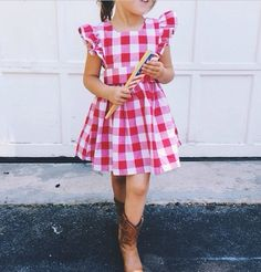 Gingham pinafore by wren and James wrenandjames.com