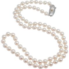 Vintage Mikimoto 5.5 Mm Cultured Pearls Silver & Pearl Clasp 20 Inches