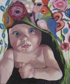 """EvaSchlitzer """"Mia makes a selfie"""", 60 x 50, Acryl auf Leinen, 2017 Portrait, Auftragsmalerei, Baby, Blumen, Mädchen, zeitgenössische Malerei, Gegenständliche Kunst Muse, Collage, My Works, Selfie, Portrait, Baby, Painting, Musical Composition, Linen Fabric"""