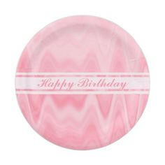 Happy Birthday pink dreamy wave pattern Paper Plate