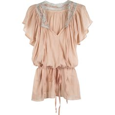 Calypso Juna smock top ($63) ❤ liked on Polyvore featuring tops, blouses, dresses, shirts, blusas, metallic top, smocked blouse, shirt blouse, stitching blouse and smocked top