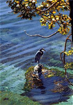 "Carol Evans - Great Blue Heron - ""Patience"" Watercolor"