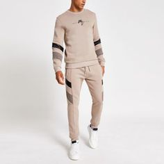 Cotton fabric Faux suede and leather fabric panel design Maison Riviera chest embroidery Long sleeve Crew neck Regular fit Our model wears a UK M and is tall Mens Sweatshirts, Hoodies, Leather Fabric, Fabric Panels, Collar Shirts, Style Guides, Joggers, Cotton Fabric, Khaki Pants