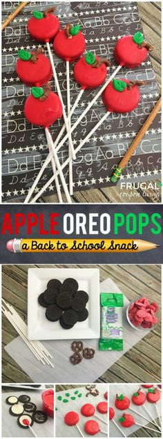 Back to School Snack Idea -Apple OREO Pops on Frugal Coupon Living plus more First Day of School and Back to School Snack Ideas. School Snack Ideas For Kindergarten School Cake, School Treats, School Snacks, Classroom Snacks, Pre School Snack Ideas, Kindergarten Snacks, School Cupcakes, Class Snacks, Classroom Resources