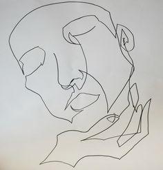 "platos-pal: "" 'Comfort' (single-line portrait in marker pen) by Heidi Prescott """