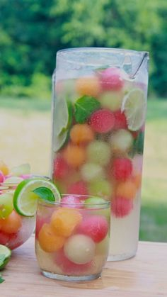 Melon Ball Punch!Ingredients needed:  	•	25.4 oz Sparkling white grape juice 	•	2 cups clear lemon lime flavored soda (You can use Sprite) 	•	1 cup lemonade (I used Simply) 	•	1 small ripe watermelon 	•	1 small ripe cantaloupe 	•	1 small ripe honeydew melon 	•	fresh mint leaves 	•	2 limes, sliced, plus more for garnish if desiredHow to:  	1.	In a pitcher stir together grape juice, soda and lemonade. 	2.	Place in the fridge to chill. 	3.	Use a melon baller to scoop out the flesh of the water