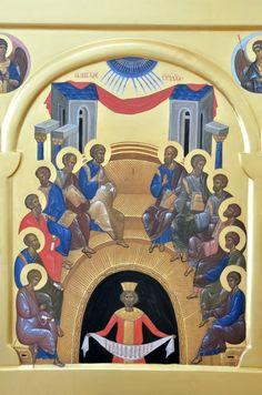 Byzantine Icons, Byzantine Art, Pentecost, Art Icon, Orthodox Icons, Roman Catholic, Religious Art, Fresco, Nativity