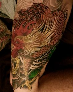 In progress shot of a Bill Canales rooster tattoo. #fullcircletattoo