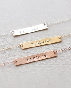 Custom Bar Necklace by Olive Yew. Choose up to 12 characters in all uppercase or lowercase bar. This widest of our bar necklaces.