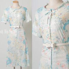 Vintage 70s light blue yellow Summer Dress by TrendyHipBuysVintage, $42.00