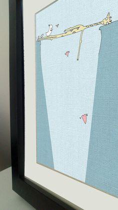 Mr Giraffe Bridge- 6x4 illustration, pen and digital print on canvas card. £6.95, via Etsy.