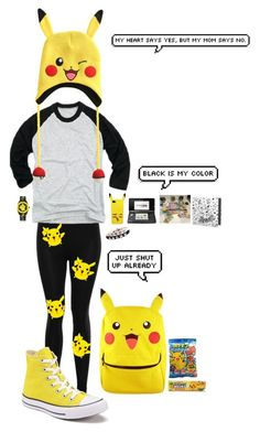 """""""PIKACHU"""" by youngblood16 ❤ liked on Polyvore featuring Converse and Nintendo"""