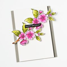 Inspiration for this set can be found here. Measurements (all approximate): Apple Blossom - x Birthday Cards, Happy Birthday, Beautiful Friend, Flower Cards, Clear Stamps, Colored Pencils, Projects To Try, Friends, Floral