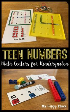 Numbers Centers for Kindergarten Math This set has six hands-on centers for teen numbers in kindergarten. Great activities for math stations!This set has six hands-on centers for teen numbers in kindergarten. Great activities for math stations! Kindergarten Math Activities, Preschool Math, Math Classroom, Fun Math, Math Math, Number Sense Kindergarten, Number Activities, Guided Math, Math Resources