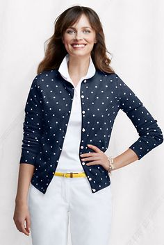 Navy  polka-dot cardigan (cute for Spring)