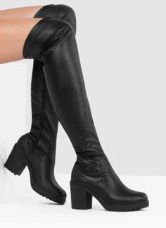 Czarne kozaki za kolano Tori