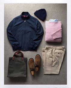 Today's Outfit. #Baracuta #G9 Harrington Jacket #PeterBlance Shaggy Dog Sweater #RalphLauren Oxford BD-Shirt #Inverallan Wool Knit Cap #BrooksBrothers Chino Trousers #JackSpade Waxwear Tote Bag #Churchs Fairfield #OutFitoftheDay #OutFitGrid #OOTD #DailyFashion #Cordinate #Fashion #FashionPost #ファッション #コーディネート #バラクータ #ピーターバランス #ラルフローレン #インバーアラン #ブルックスブラザーズ #ジャックスペード #チャーチ