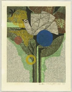 Fumio Fujita born 1933 - Flower and Bird - Hana to Tori - artelino Art Auctions Printed 1966 Print Box, Japanese Prints, Collage Art, Collages, Abstract Flowers, Woodblock Print, Art Auction, Asian Art, Word Art