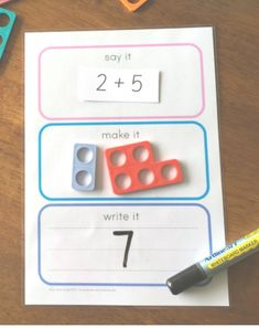 Say It Make It Write It For Maths - how to use this FREE printable for simple addition using Numicon Maths Eyfs, Math Classroom, Kindergarten Math, Teaching Math, Maths Games Ks1, Multiplication Games, Numicon Activities, Literacy And Numeracy, Counting Activities Eyfs