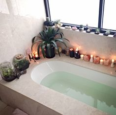Bathroom. Crystal candles and palms