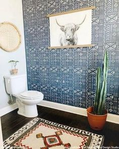"""""""I did a thing yesterday! Stencils are what I'm living for now!"""" - used our Mali Mudcloth Wall Stencil to decorate her… Wall Stencil Patterns, Damask Stencil, Tile Stencils, Bird Stencil, Large Stencils, Boho Bathroom, Bathroom Shower Curtains, Master Bathroom, Bathroom Ideas"""