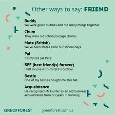 Synonyms to the word FRIEND Other ways to say FRIEND