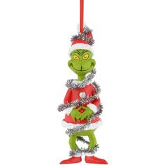 Department 56 Grinch Village Grinch in Tinsel Ornament (£8.41) ❤ liked on Polyvore featuring home, home decor, holiday decorations, no color, christmas ornaments, department 56, plastic christmas ornaments, christmas holiday decor ve xmas ornaments