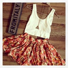 Brandy Melville <3 summer skirt and droptop.                                                       This would be cute as a dress too.