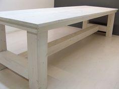 NIEUW Kloostertafel steigerhout (whitewash behandeld) (142013KLTW)