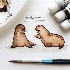 """2,002 Likes, 28 Comments - @inky.diary on Instagram: """"Day 19: Sea lion friends  Happy Earth Day!!  - - #illustration #illustrationoftheday #art…"""""""
