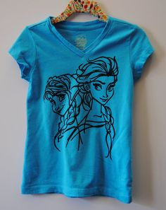 Frozen Elsa and Anna Sisters Girls Screen Printed Aqua Blue T Shirt Size XS, 4T, 5T Girls