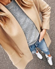 Posts from fashion_jackson Cozy Fashion, Autumn Fashion, Classic Outfits, Casual Outfits, Fall Outfits, Camel Coat Outfit, Fashion Jackson, Sweater Coats, Grey Sweater