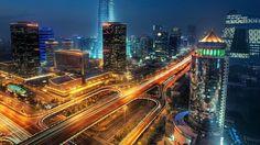Lit Up Roads Cityscape HD Wallpaper | Download HD Wallpapers