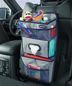 A tissue box holder, drink and snack station and iPad holder in one! Turn a seat back into an organization station, at www.highroadorganizers.com