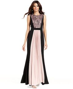 JS Collections Dress, Sleeveless Contrast Lace-Panel Pleat Gown