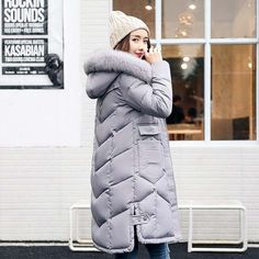 Women jackets Fur Hooded Jacket for women Padded Cotton Down Winter Coat women Long Parka Womens Coats Clothing Plus size Oh just take a look at this! Get it here