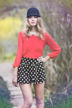 cute outfit, love the red & polka dots. Vintage Sky by Emily Soto, via Behance