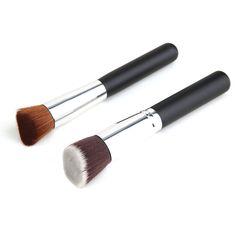2PCS Makeup Brushes Powder Concealer Blush Liquid Foundation Make up Brush Set Wooden Kabuki Brush Cosmetics Top Good Hot