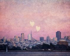 San Francisco Skyline Photograph, Pretty in Pink, Nursery Idea, Pink - Where We Left Our Hearts (8x10) Fine Art Photograph