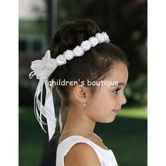 Satin Floral Hair Crown:  Floral Hair wreath with organza outer layer and satin inner layer rolled flowers adorned with pearl center.  Satin bow on the back.