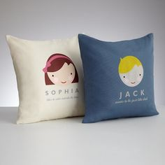 Personalized pillow covers with a smiling face to resemble your kid. You can choose the hair color, skin tone and add a name and one line of personalized message. $59.95