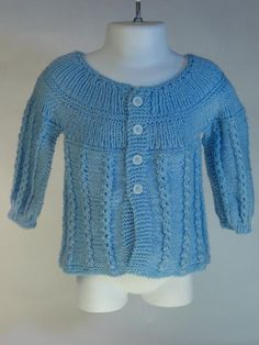 Baby Sweater Hand Knitted in Bue Cardigan by toppytoppy on Etsy, $50.00