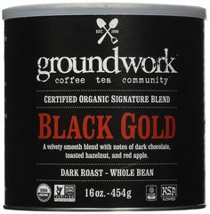 Groundwork Coffee, Organic Black Gold, Whole Bean, 16-Ounce Cans (Pack of 2) -- See this great image @ : Fresh Groceries