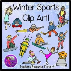 Winter Sports Competition Clip Art (Color & black line). Looking for some unique clip art of Winter sports? This pack contains 24 high quality 300dpi png files of the most common Winter sports! 12 are full color and 12 are black and white line drawings, great for saving money in printing and for coloring in pages!