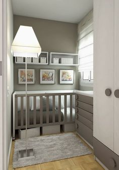 Nursery in a small space. @Courtney Baker Douglas not necessarily the style but the set up totally works. Love the baskets under the crib too…extra storage without needing extra space.