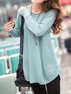 I found 'Blue Sweet New Autumn Fashion Women Knitting Round Neck Long Sleeve Sweater N603-1601-38bl' on Wish, check it out!