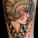 Flapper head tattoo -