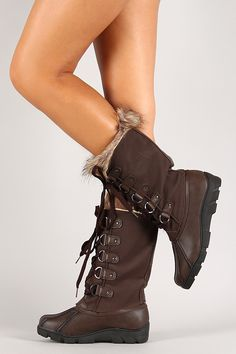 Nubuck Round Toe Lace Up Knee High Boot