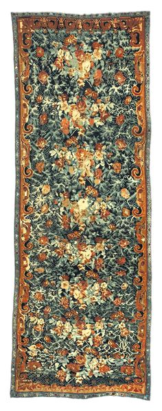 A Caucasian Karabagh rug BB0975 - A late 19th century antique Russian Karabagh rug, the dark blue field with intricate vines and blossoms overall ...
