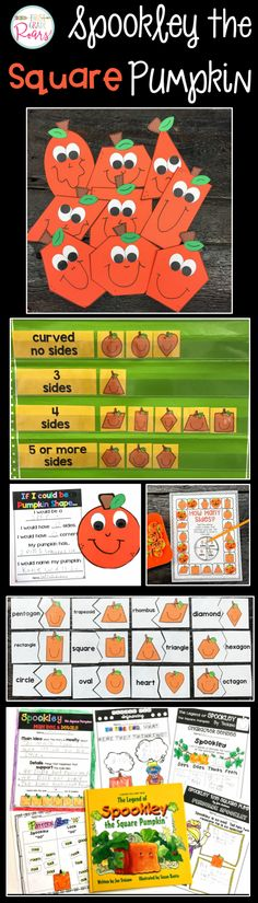 "Do you love the story of Spookley the Square Pumpkin? This activity packet is filled with your choice of comprehension strategies, writing activities and more. A shape pumpkin craft is included with different sample ideas for completion. There are also 3 different math extensions and an ""oo"" word work page. I hope your children love this story as much as mine do!"